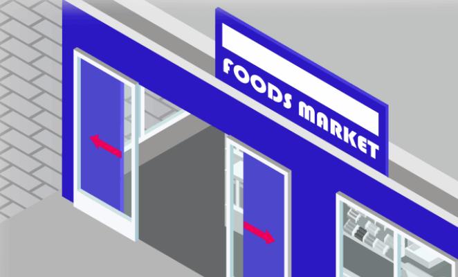 کاربرد عملگرها - درب فروشگاه